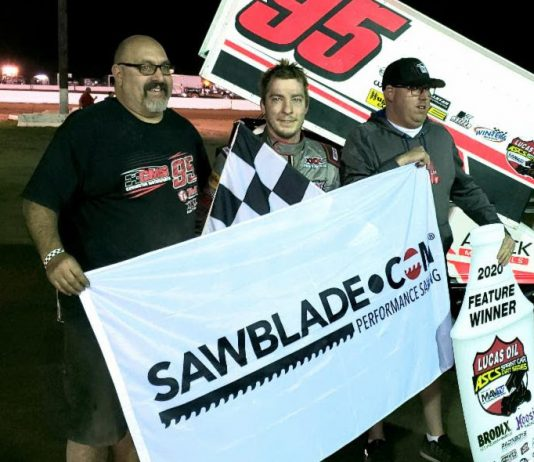Matt Covington in victory lane at Canyon Speedway Park. (ASCS photo)