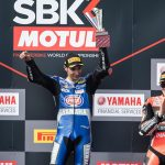 Toprak Razgatlioglu celebrates after winning Saturday's World Superbike opener in Australia. (Yamaha Photo)