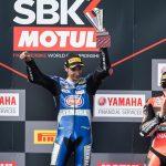 ToprakRazgatlioglu celebrates after winning Saturday's World Superbike opener in Australia. (Yamaha Photo)