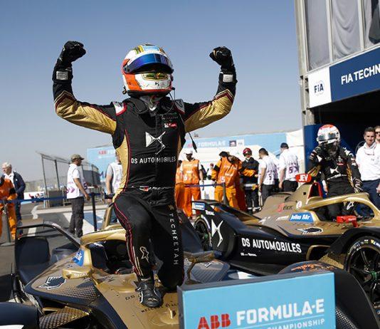 Antonio Felix da Costa celebrates his victory in the Marrakesh E-Prix. (Formula E Photo)