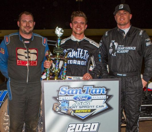 Sterling Cling, Dennis Gile and Kyle Shipley shared the podium at USA Raceway. (Ron Gilson photo)