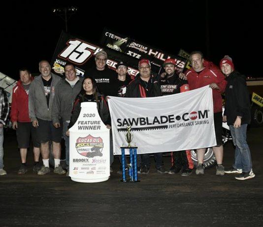 Sam Hafertepe Jr. in victory lane at Canyon Speedway Park. (Ben Thrasher photo)