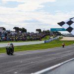 Alex Lowes (22) beats Jonathan Rea to the finish line to win Sunday's World Superbike event in Australia. (WorldSBK Photo)