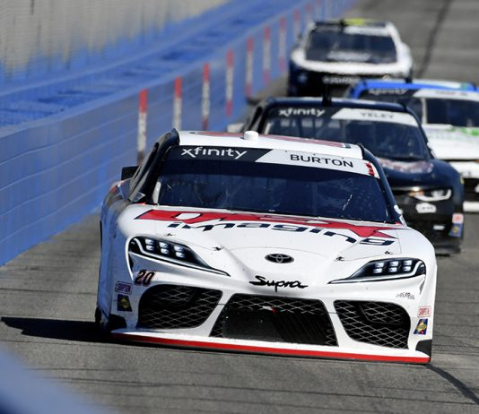 Harrison Burton (20) leads the pack during Saturday's NASCAR Xfinity Series event at Auto Club Speedway. (Toyota Photo)