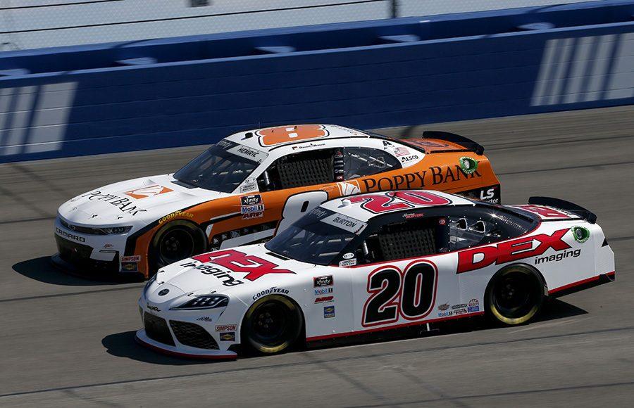 Harrison Burton (20) battles Daniel Hemric during Saturday's NASCAR Xfinity Series race at Auto Club Speedway. (Toyota Photo)