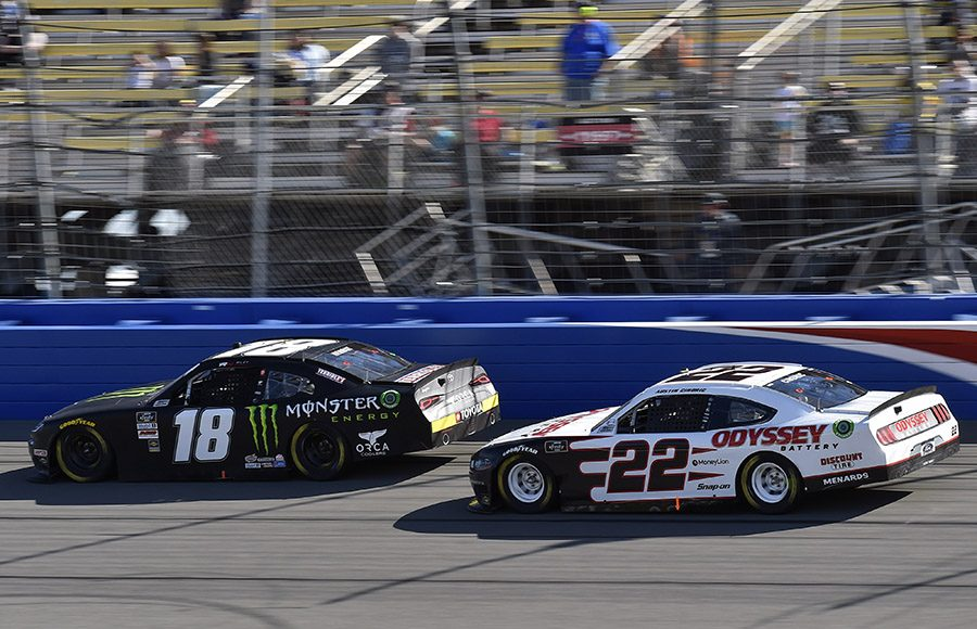 Riley Herbst (18) leads Austin Cindric during Saturday's NASCAR Xfinity Series race at Auto Club Speedway. (Toyota Photo)