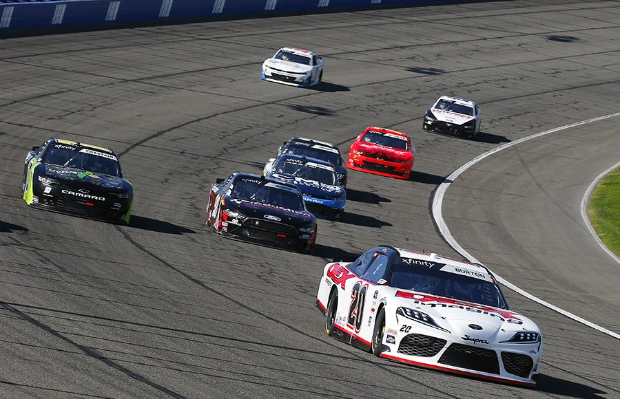 Harrison Burton (20) leads the pack during Saturday's NASCAR Xfinity Series race at Auto Club Speedway. (Toyota Photo)