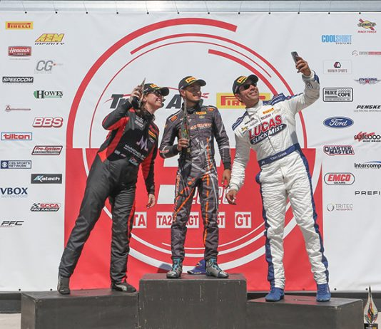Ernie Francis Jr. (center) outran Amy Ruman (left) and Tomy Drissi to win Sunday's Trans-Am Series opener at Sebring Int'l Raceway.