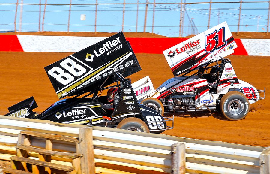 Brothers Brandon Rahmer (88) and Freddie Rahmer (51) battle for position during Sunday's sprint car event at Lincoln Speedway. (Dan Demarco Photo)