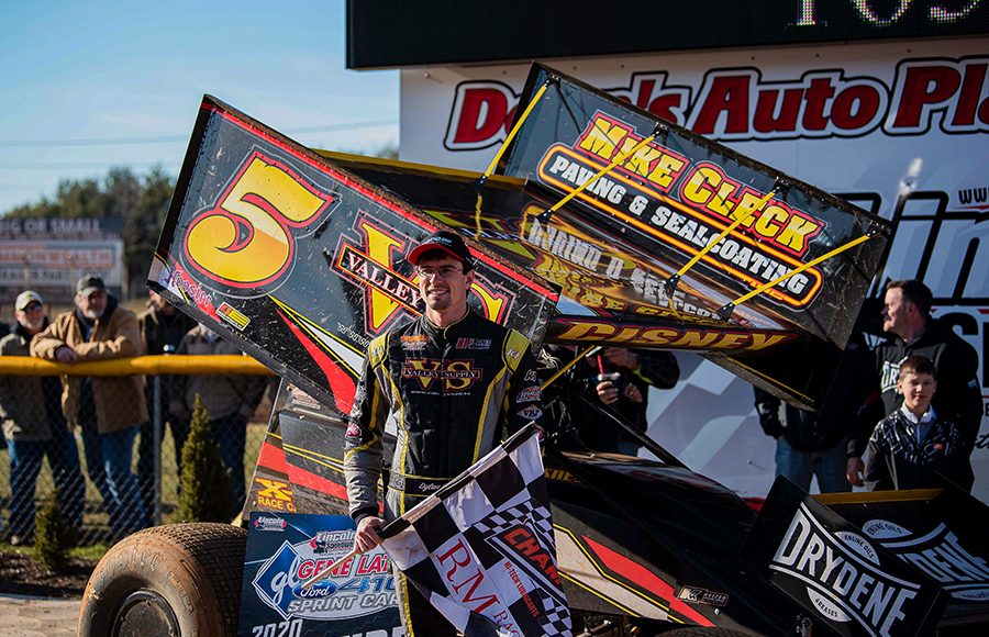 Dylan Cisney in victory lane Sunday at Lincoln Speedway. (Shawn Cooper Photo)