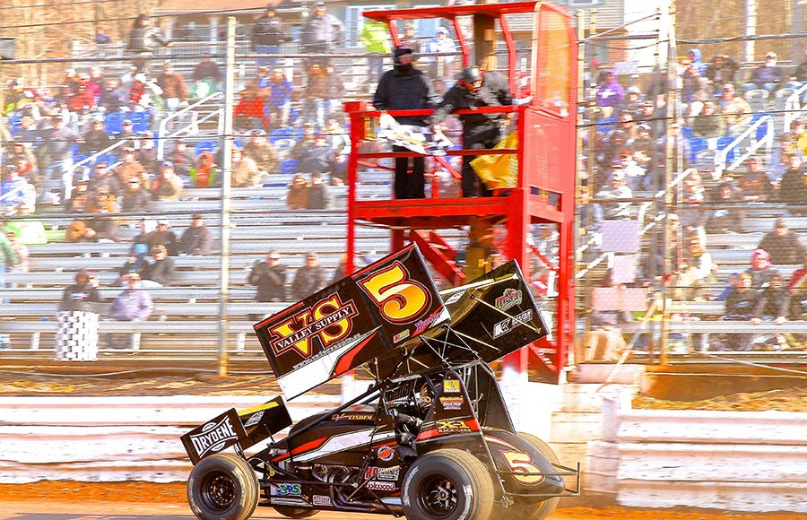 Dylan Cisney crosses the finish line to win Sunday's sprint car feature at Lincoln Speedway. (Dan Demarco Photo)