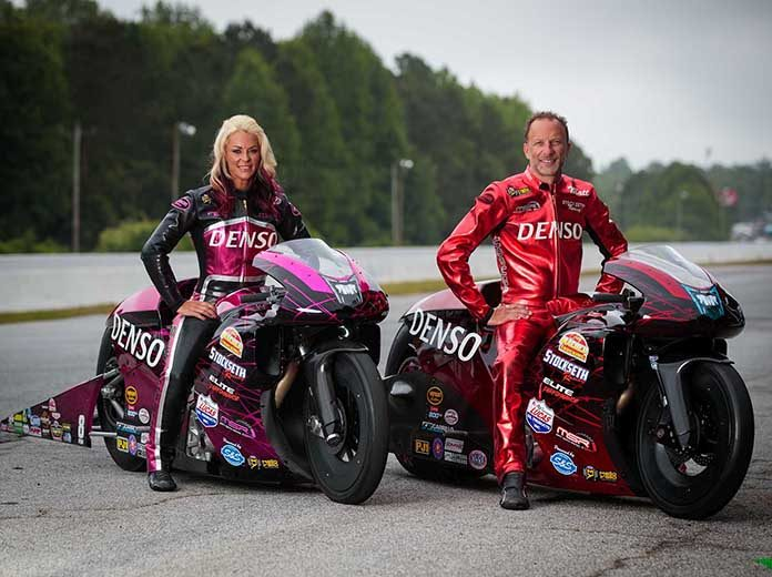 DENSO has renewed its sponsorship of NHRA Pro Stock Motorcycle racers Angie and Matt Smith.