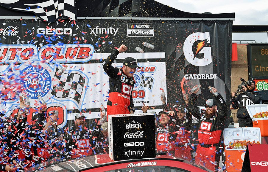 Alex Bowman celebrates in victory lane after winning Sunday's Auto Club 400 at Auto Club Speedway. (Steve Himelstein Photo)
