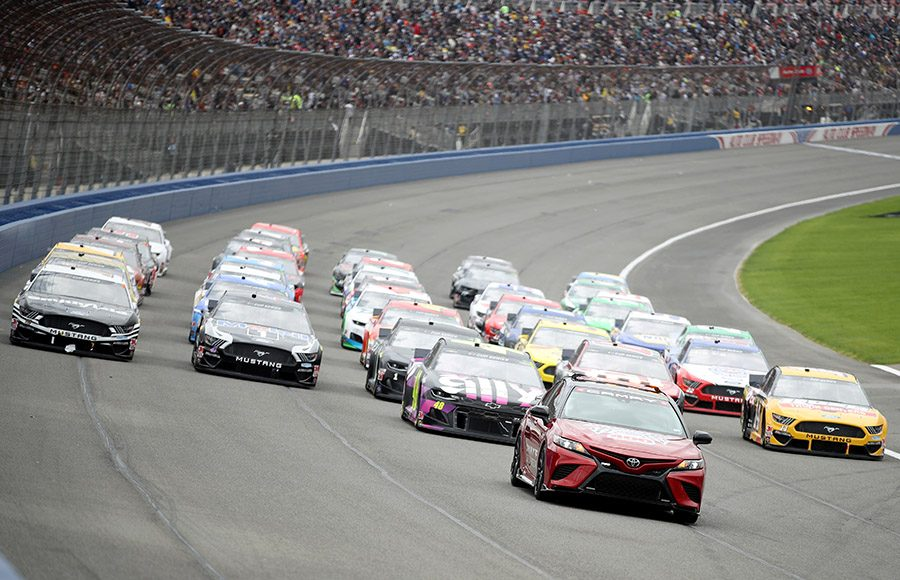 The NASCAR Cup Series field goes five-wide with Jimmie Johnson leading the way prior to the start of Sunday's NASCAR Cup Series Auto Club 400 at Auto Club Speedway. (NASCAR Photo)