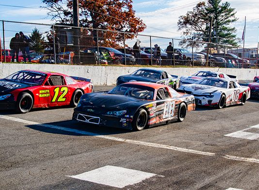 A stout field of Charger cars lined up and ready to race during the Southern Turkey Derby at Franklin County Speedway last November. (Steve Curtiss Photo)