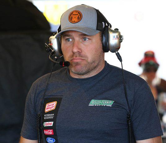 Ryan Newman in the garage Friday at Phoenix Raceway. (Ivan Veldhuizen Photo)