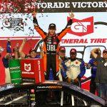 Chandler Smith celebrates in victory lane after winning Friday's ARCA Menards Series event at Pocono Raceway. (Ivan Veldhuizen Photo)