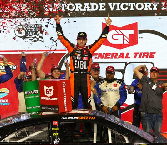 Chandler Smith celebrates in victory lane after winning Friday's ARCA Menards Series event at Pocono Raceway. (Ivan Veldhuizen Photo)