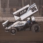 Brad Sweet en route to victory at Merced Speedway. (Devin Mayo photo)