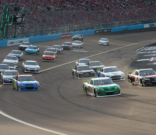 Drivers battle for position early in Friday's ARCA Menards Series race at Phoenix Raceway. (Ivan Veldhuizen Photo)