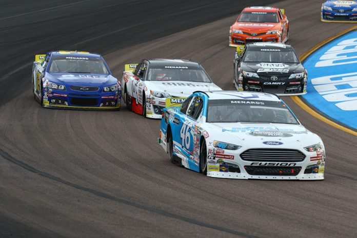 Thad Moffitt (46) leads a pack of cars during Friday's ARCA Menards Series race at Phoenix Raceway. (Ivan Veldhuizen Photo)