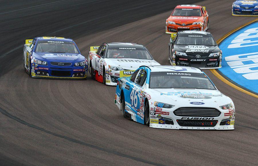 Thad Moffitt (46) leads a pack of cars during Friday's ARCA Menards Series race at Phoenix Raceway. (Ivan Veldhuizen Photo)