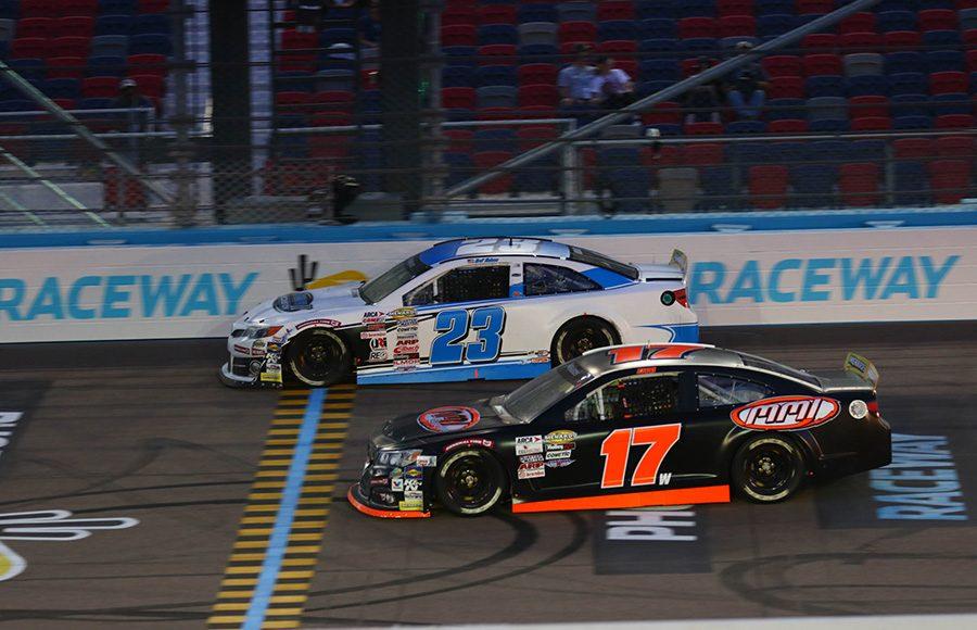 Zane Smith (17) races alongside Bret Holmes during Friday's ARCA Menards Series race at Phoenix Raceway. (Ivan Veldhuizen Photo)