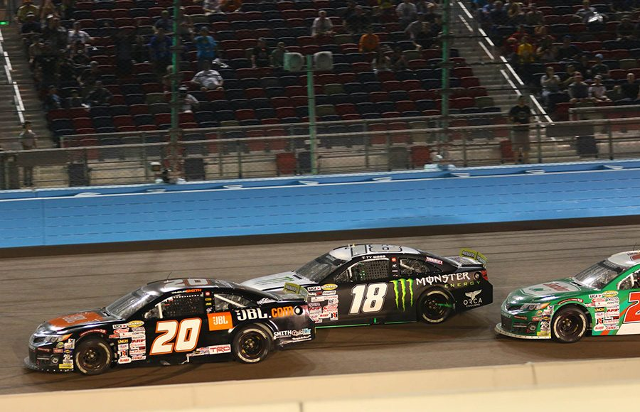 Chandler Smith (20) leads Ty Gibbs (18) and Michael Self (25) during a late-race restart Friday during the ARCA Menards Series race at Phoenix Raceway. (Ivan Veldhuizen Photo)