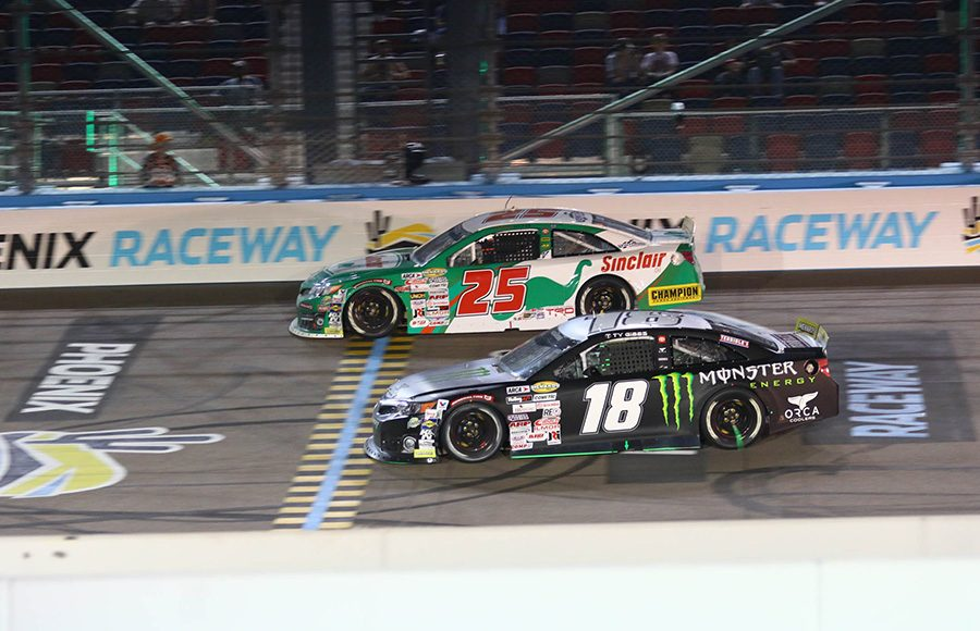 Michael Self (25) races around the outside of Ty Gibbs during Friday's ARCA Menards Series race at Phoenix Raceway. (Ivan Veldhuizen Photo)