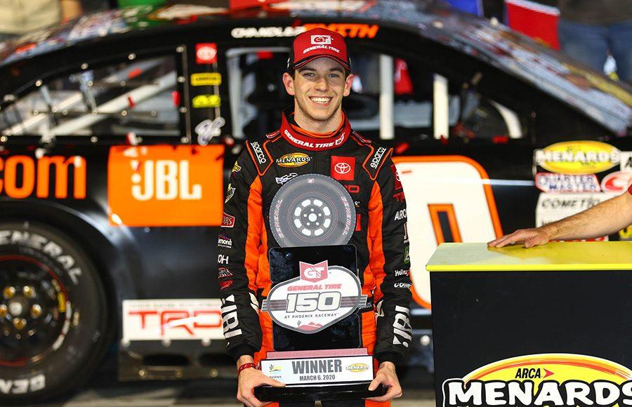 Chandler Smith poses in victory lane after winning Friday's ARCA Menards Series race at Phoenix Raceway. (Ivan Veldhuizen Photo)