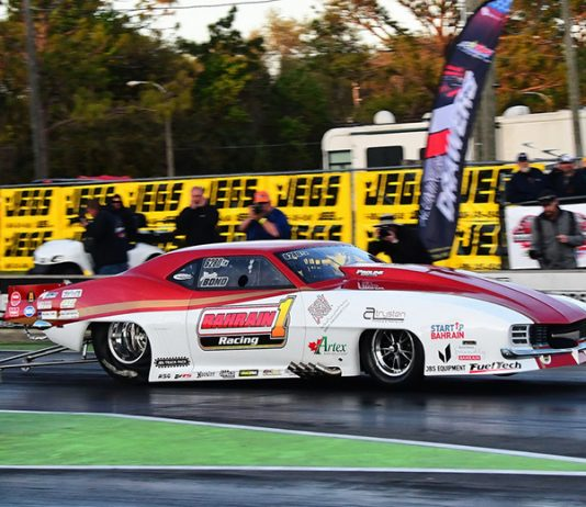 Justin Bond topped qualifying during the Drag Illustrated World Doorslammer Nationals on Saturday. (Roger Richards Photo)