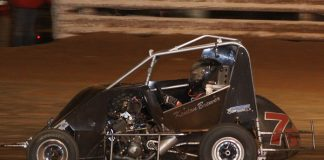 Kenton Brewer en route to victory during Stock Non-Wing action at Red Dirt Raceway. (Richard Bales Photo)