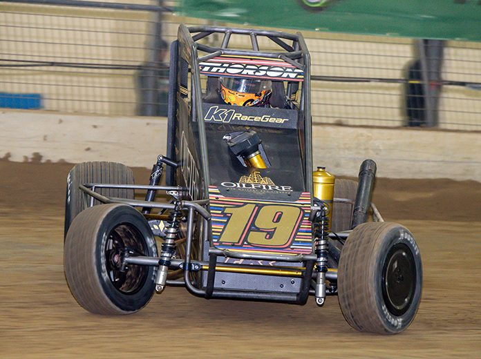 Tanner Thorson on his way to victory Saturday night during the Shamrock Classic. (Mark Coffman Photo)