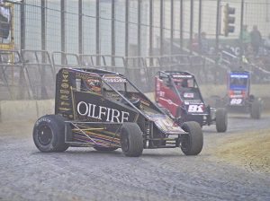 Tanner Thorson (19) races ahead of Tyler Thomas during the Shamrock Classic. (Ray Hague Photo)