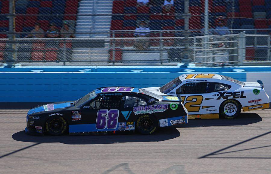 Brandon Brown (68) battles Brad Keselowski during Saturday's NASCAR Xfinity Series event at Phoenix Raceway. (Ivan Veldhuizen Photo)