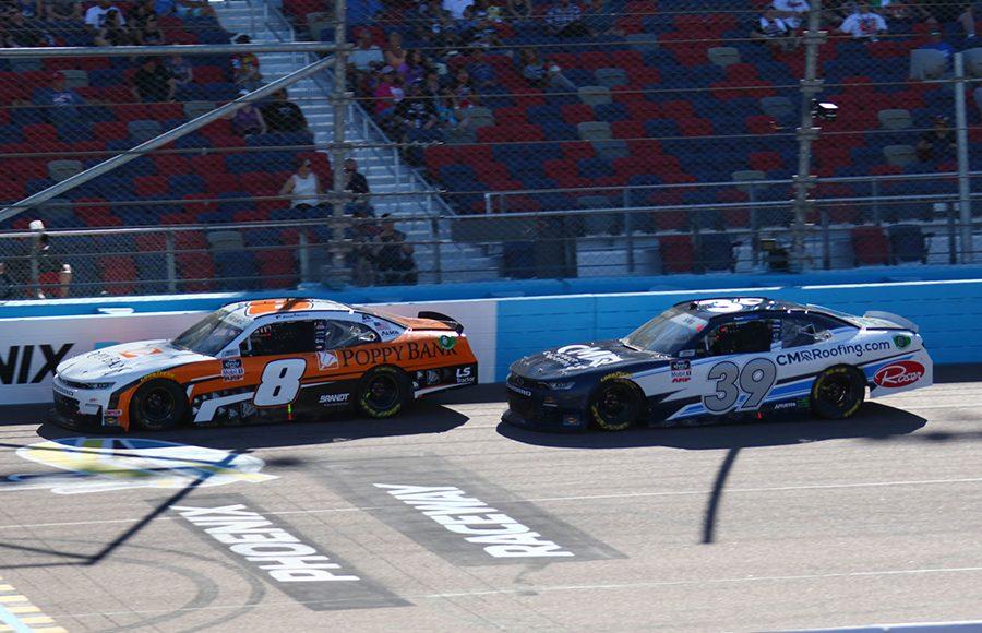 Daniel Hemric (8) races ahead of Ryan Sieg during Saturday's NASCAR Xfinity Series event at Phoenix Raceway. (Ivan Veldhuizen Photo)