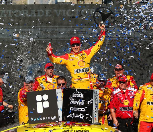 Joey Logano celebrates in victory lane after winning Sunday's NASCAR Cup Series race at Phoenix Raceway. (Ivan Veldhuizen Photo)