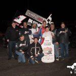 Andy Forsberg in victory lane Sunday at Petaluma Speedway. (Devin Mayo Photo)