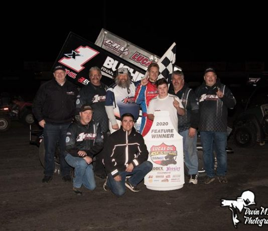 Andy Forsberg in victory lane Sunday at Petaluma Speedway. (Devin Mayo Photo)