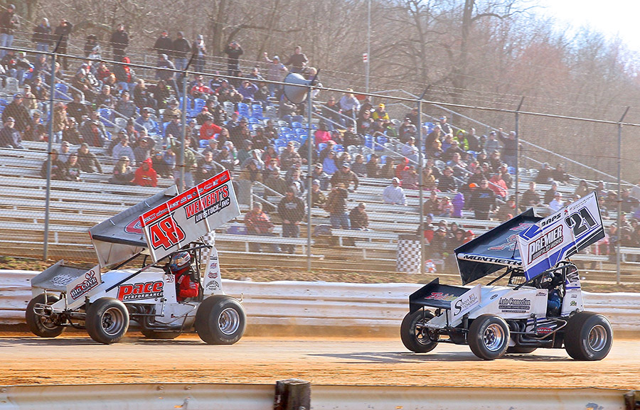 Danny Dietrich (48) leads Brian Montieth during Saturday's sprint car feature at Lincoln Speedway. (Dan Demarco Photo)
