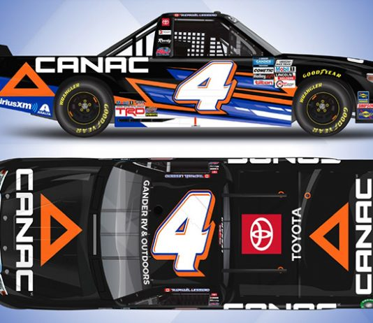 Canac will sponsor Raphael Lessard at the upcoming NASCAR Gander RV & Outdoors Truck Series race at Homestead-Miami Speedway.