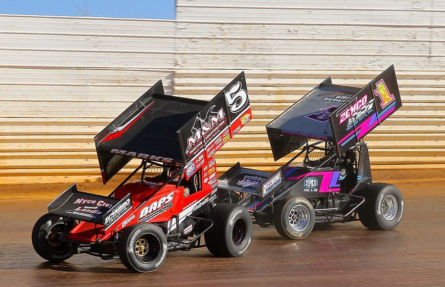 Brent Marks (5) races ahead of Logan Wagner during Sunday's sprint car feature at Port Royal Speedway. (Dan Demarco Photo)