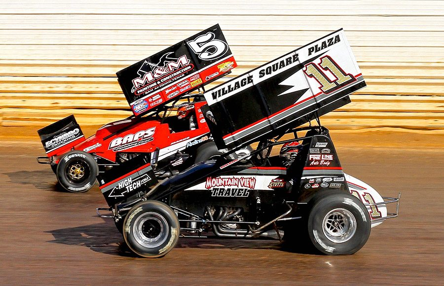 T.J. Stutts (11) battles Brent Marks during Sunday's sprint car feature at Port Royal Speedway. (Dan Demarco Photo)