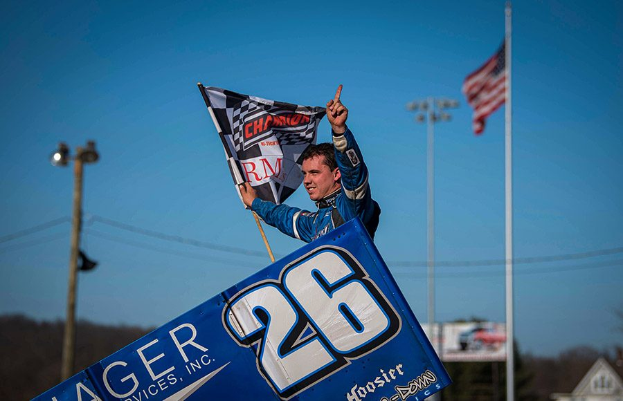 Cory Eliason celebrates after winning Sunday's sprint car feature at Port Royal Speedway. (Shawn Cooper Photo)