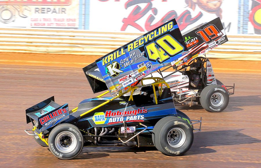 George Hobaugh (40) races under Landon Meyers during Sunday's sprint car feature at Port Royal Speedway. (Dan Demarco Photo)
