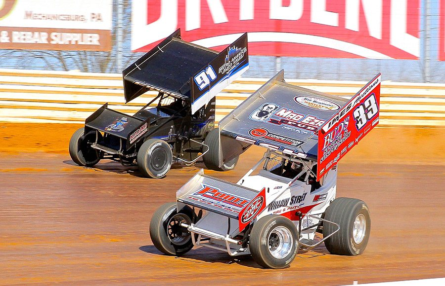 Jared Esh (33) battles Anthony Fiore during Sunday's sprint car feature at Port Royal Speedway. (Dan Demarco Photo)