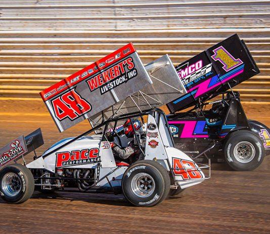 Danny Dietrich (48) battles Logan Wagner last weekend at Port Royal Speedway. (Shawn Cooper Photo)