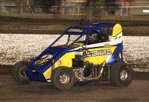 Kris Carroll en route to victory Thursday at Port City Raceway. (Richard Bales Photo)