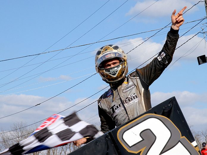 Carson Macedo celebrates in victory lane after winning Sunday's feature at Williams Grove Speedway. (Dan Demarco Photo)