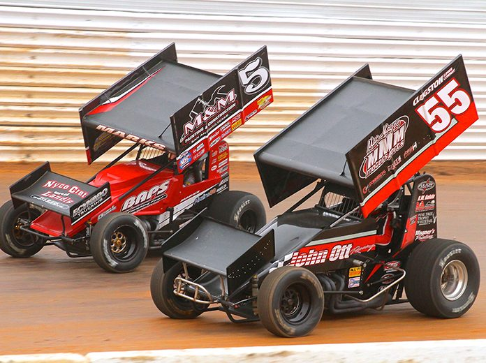 Brent Marks (5) battles Mike Wagner on Saturday at Port Royal Speedway. (Dan Demarco Photo)